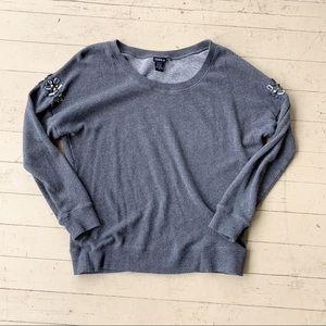 Torrid 0 large grey long sleeve sweatshirt jeweled